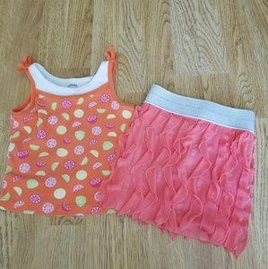 Gymboree Citrus Tank/Sparkly Skirt Outfit